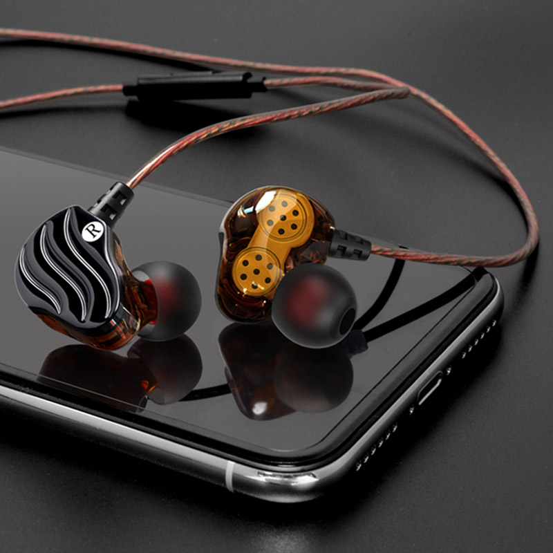 Newest HiFi Bass Stereo Earphone Double Dynamic <font><b>Driver</b></font> <font><b>4</b></font> Speakers With Mic In-ear Earbuds Sport Running HiFi Auricular Earbuds image
