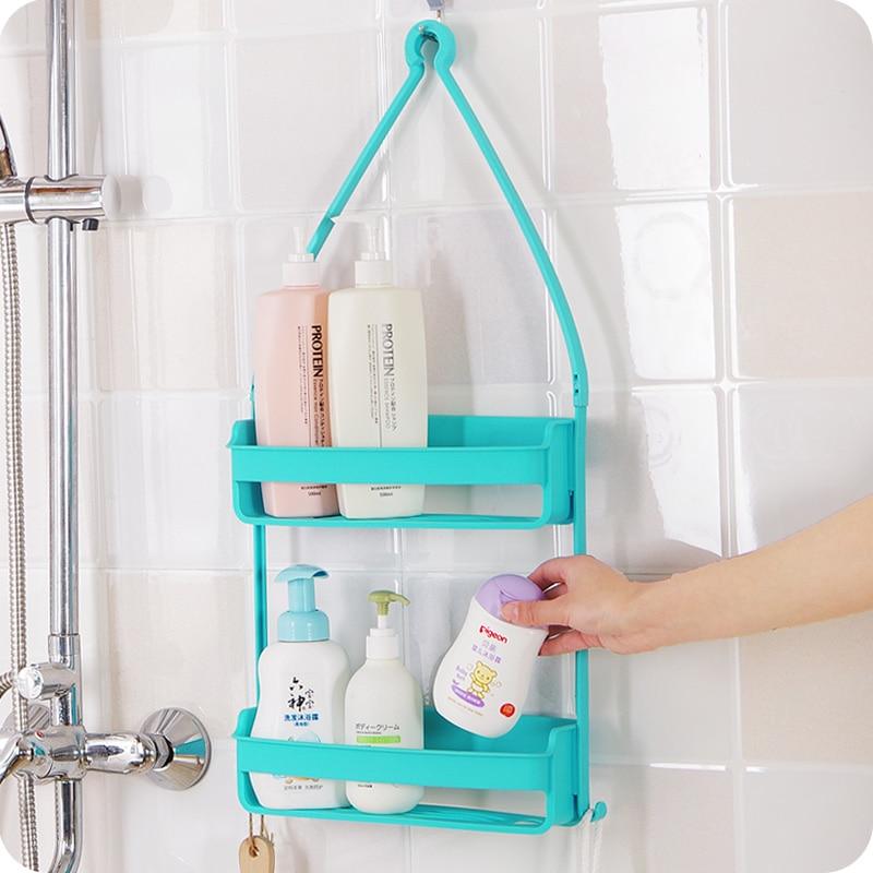 Multi Use Double Layer Bathroom Shelf Shampoo Bottle Holder Cosmetic ...