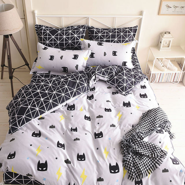 Wongbedding Brand Black Batman Mask Bedding Set Cartoon
