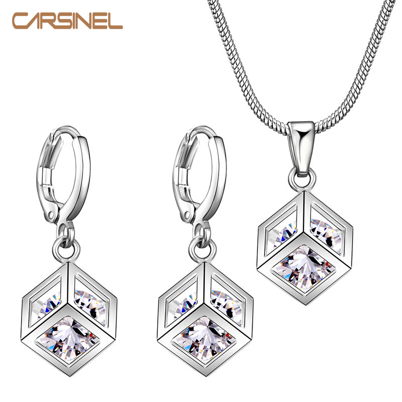 Fashion Lattice Cube Jewelry Sets for Women Silver color 8mm Cubic Zircon Necklace Hoop Earrings Bridal Jewelry Sets Wholesale