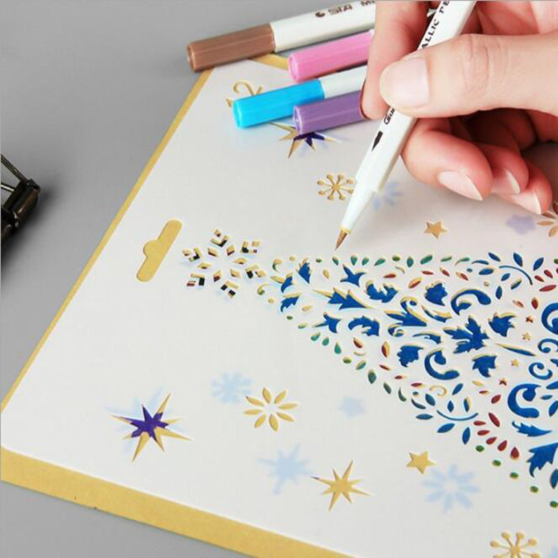 Christmas Painting Openwork Template Photo Album Stencil Bullet Journal Lace Ruler Drawing Accessory Spray Mold Drawing Template