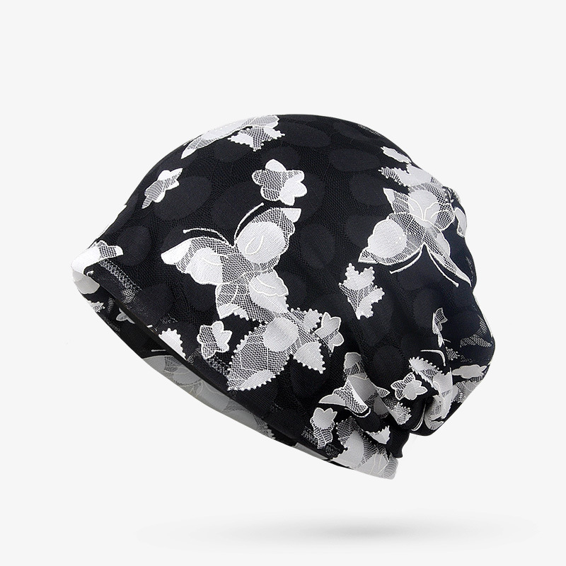 2018 ladies hats berets confinement head cap breathable hollow lace flowers fashion headgear hat Gum Scrunchie