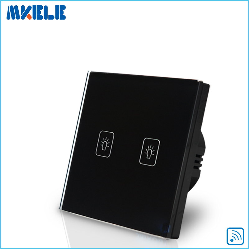 EU Standard Remote Touch Switch Black Crystal Glass Panel 2 Gang 1 Way Control Wall With LED Indicator Switches Electrical eu uk standard sesoo remote control switch 3 gang 1 way crystal glass switch panel wall light touch switch led blue indicator