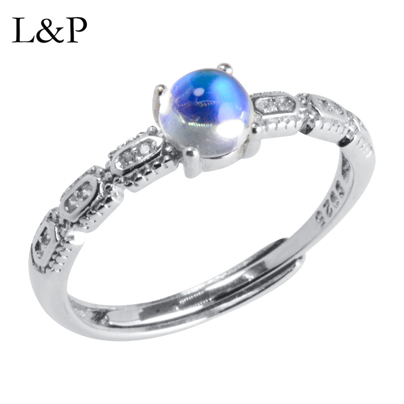 L&P Sri Lankan Moonstone Ring For Lady Authentic 925 Sterling Silver Adjustable Ring Elegant Handmade Fine Jewelry Wedding Gift rights of sri lankan women migrant workers in middle east