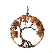 Crystal Stone Women Necklace Copper spirituality girl Red Agate handmade Natural child  Tree Of Life lovers Pendant