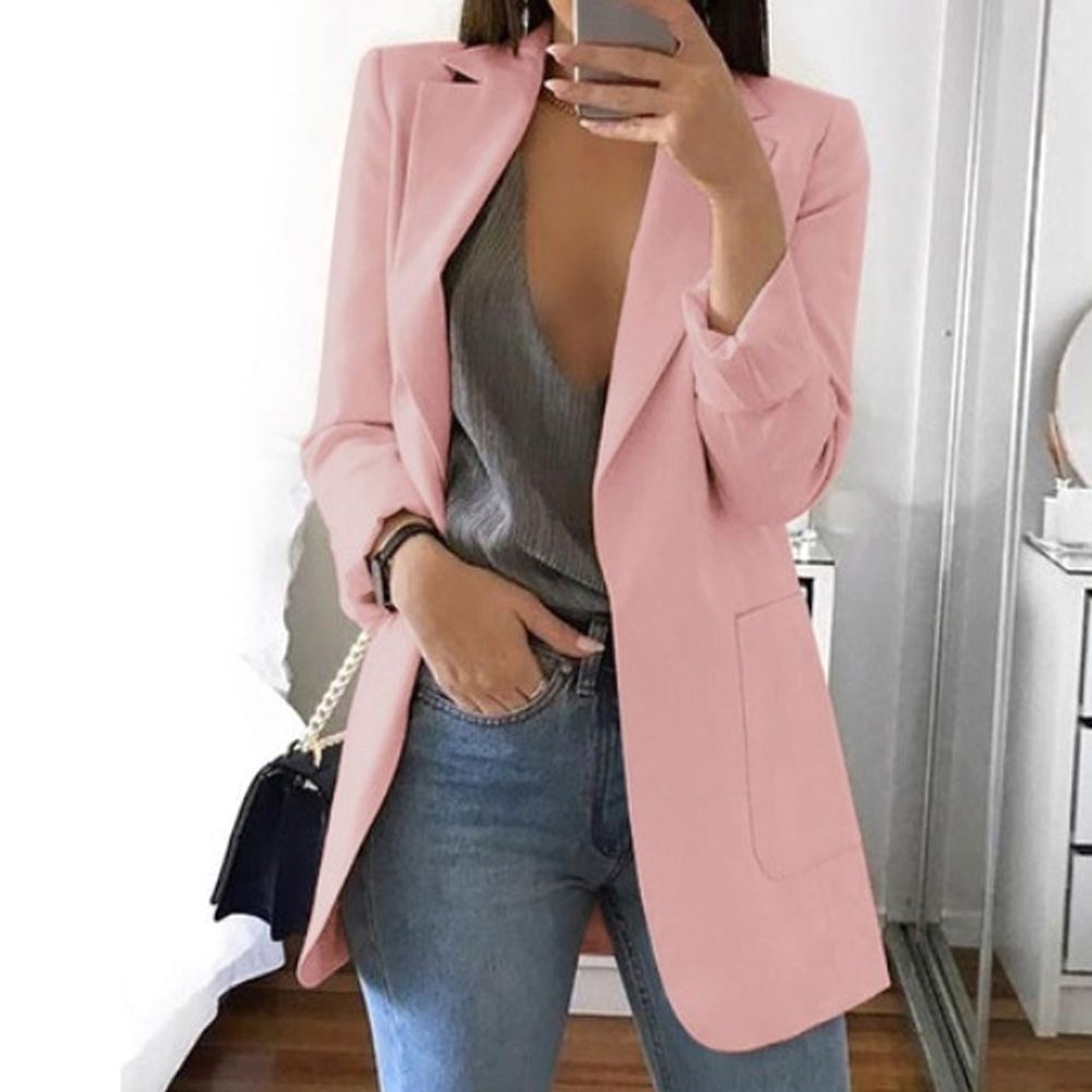 Slim Fit All-Match Women Blazer with Pockets Turn-down Collar Long Sleeve Work Club Cocktail Solid Party Casual Daily Wear Top