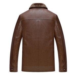 Image 3 - Inverno Caldo di Spessore Uomini Cappotto di pelliccia collare Giubbotti e cappotti marchio di abbigliamento jaqueta masculino inverno della tuta sportiva di cuoio Giubbotti parka