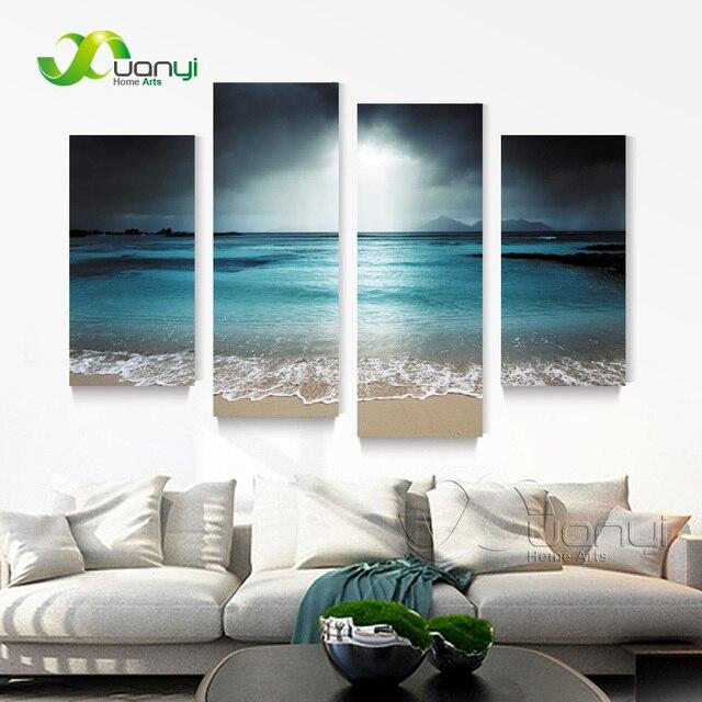 4 Pannello di Wall Art Dipinti Ad Olio Di Paesaggi Marini Tela ...