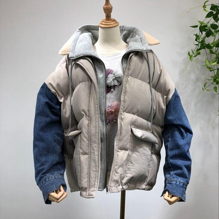 Manteau 4 1 Coton Fourrure Couture Veste De 2 Cowboy Pain Femme Deux Vêtements Col Longue 3 Section Pièces Lâche Rembourré Agneau qSTnTgZH