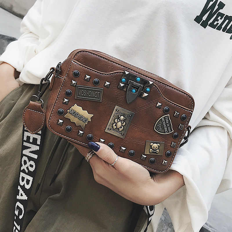 Сумки с металлической аппликацией, маленькие квадратные сумки через плечо с заклепками, винтажные женские Лоскутные сумки с жемчужным замком, модная сумка на плечо