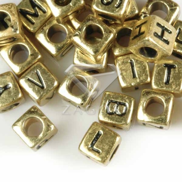 60Pcs 6x6x6mm Acrylic Gold Cube Mixed Alphabet Letter Beads Jewelry DIY  Making Findings Fit Bracelet Necklace AR0375 b12877115936