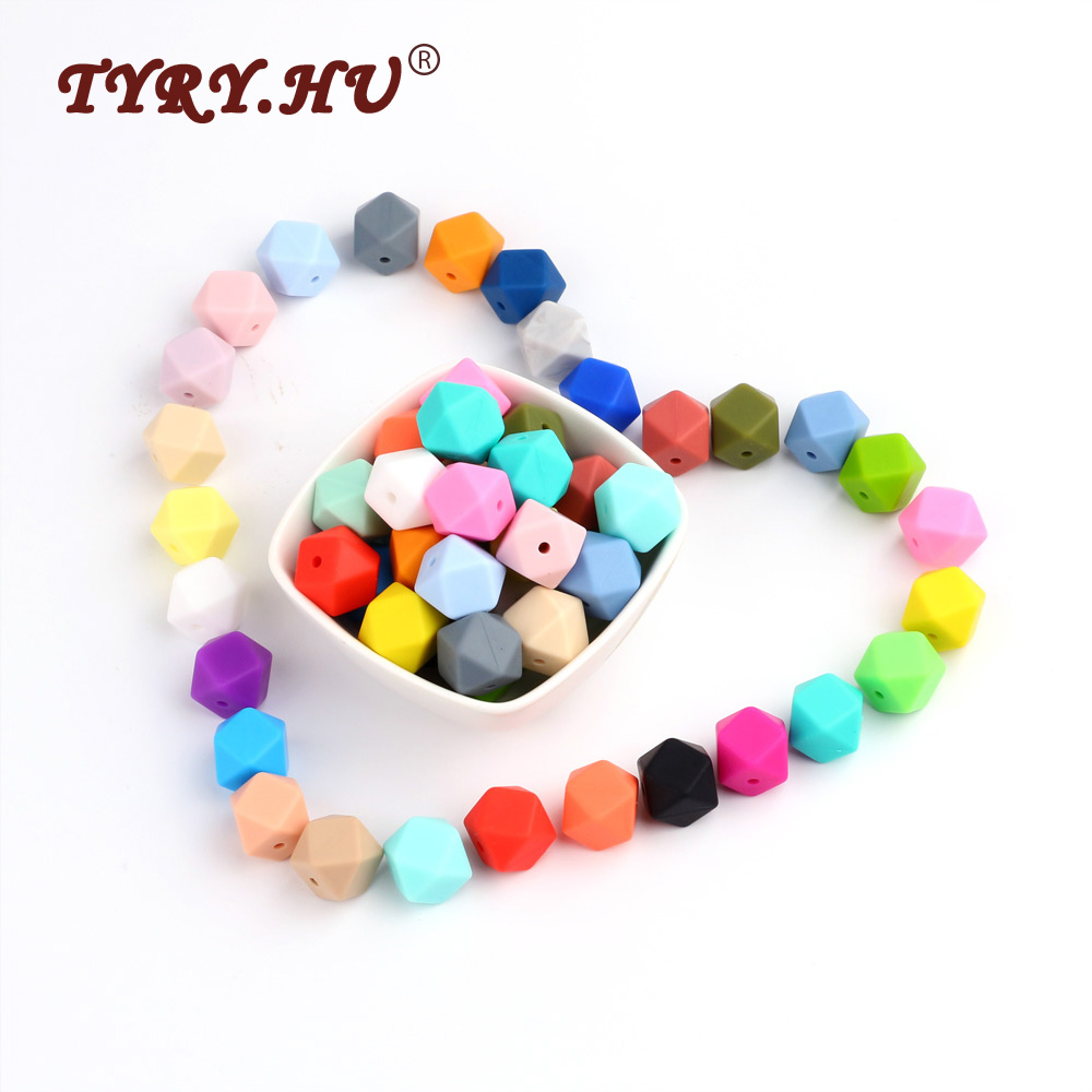 TYRY.HU Food Grade Hexagon Silicone Beads BPA Free 14&17mm Silicone Baby Chewed Bead 100pcs Baby Teething Necklace Accessories
