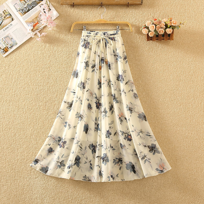 Women Maxi Skirts Chiffon Long Boho Elastic Waist Halter Skirt 2019 Summer Skirts Wild Korean Women Long Floral Pattern Skirt