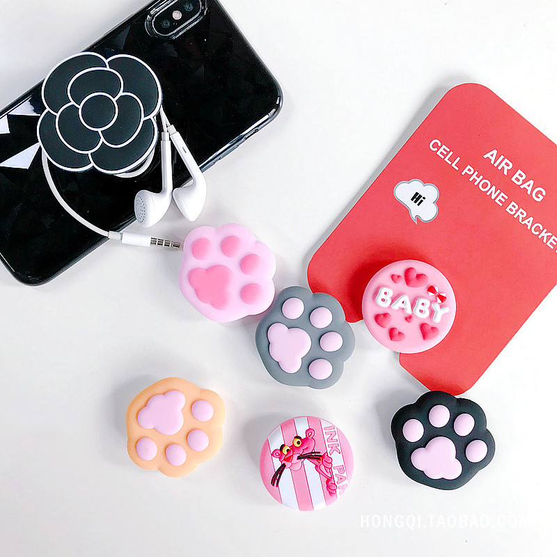Cartoon Round Mobile Phone Holder with Anti-Drop Extensible Airbag Stand Bracket Mount For iPhone X XS XR 8 7 6s Samsung