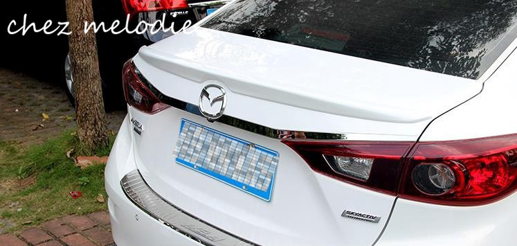 Different colors painted ABS Car Rear Trunk Spoiler Wing For Mazda 3 AXELA 2014 2015 2016, no drilling needed for nissan x trail rogue t32 2014 2015 2016 car trunk lip rear aero add on spoiler wing cover trim pearl white