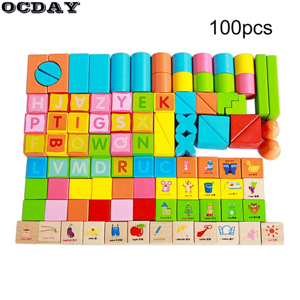 OCDAY 100pcs/Set Wooden Building Blocks Toys Multicolor Letters Digital Geometric Sorting Early Educational Funny Toys For Baby baby toys montessori wooden geometric sorting board blocks kids educational toys building blocks child gift