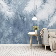 Hand-painted simple feather background wall professional production mural factory wholesale wallpaper mural poster photo wall romantic mediterranean style background wall professional production mural wholesale wallpaper mural poster photo wall