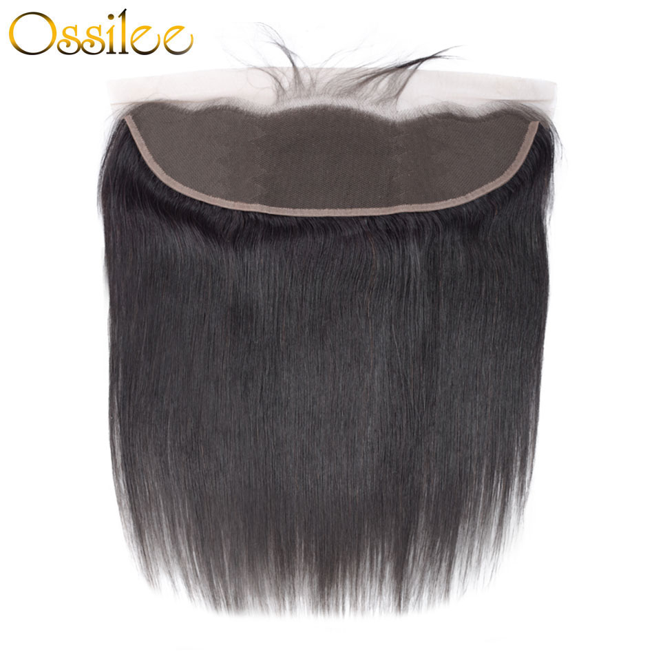 Ossilee Brazilian Straight Hair Lace Frontal Closure 13x4 Ear To Ear Lace Frontal Pre Plucked Remy Human Hair Closure