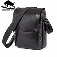 Men Business Cowhide Genuine Leather Messenger Shoulder Bag Casual Crossbody Bag Man Black Handamde Flap Pocket Sling Bag