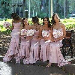 Roze Bruidsmeisje Jurken Mermaid Jurk voor Wedding Party Eenvoudige robe demoiselle d'honneur Lange Bruidsmeisje Jurk
