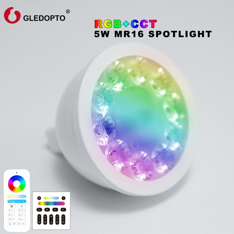 GLEDOPTO MR16 spot light DC12V 2.4G Wireless Dimmable Led Bulb RGB+CCT Led Spotlight Smart Led Lamp DC12V 5W gu5.3 led lightbulb dc12v 2 4g wireless milight dimmable led bulb 4w mr16 rgb cct led spotlight smart led lamp home decoration