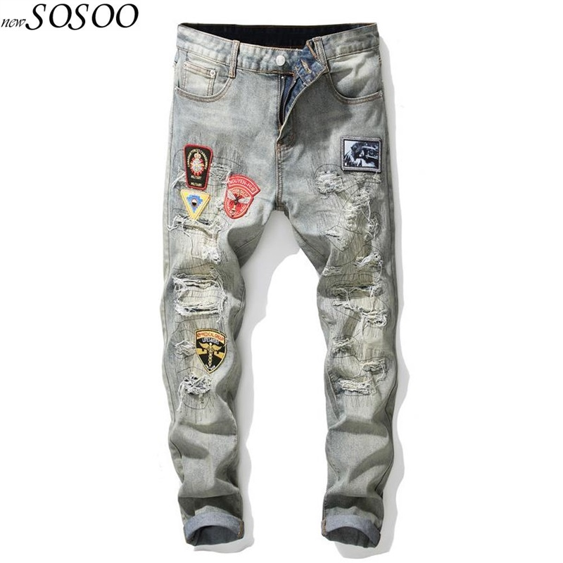 JiSuTong Brand Store New Fashion Patches Knees Holes Men Jeans 100% Cotton Denim Pants White High Quality Mans Pants #2019