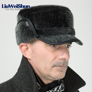 Image 2 - Winter Thicken Flat Top Bomber Hats Men Top Quality Russian Snow Hat with Earflaps Retro Faux Fur Warm Outdoor Bonnet for Men