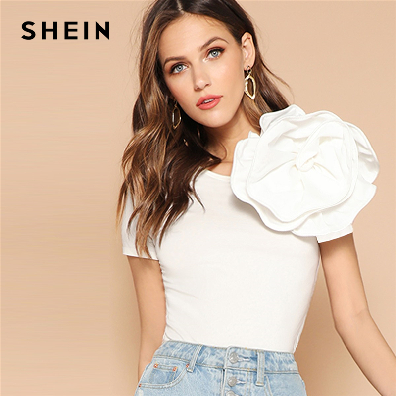 SHEIN White Solid Flower Embellished Fitted Top T Shirt Women Summer Slim Fit Short Sleeve Party Glamorous Elegant Tshirt Tops