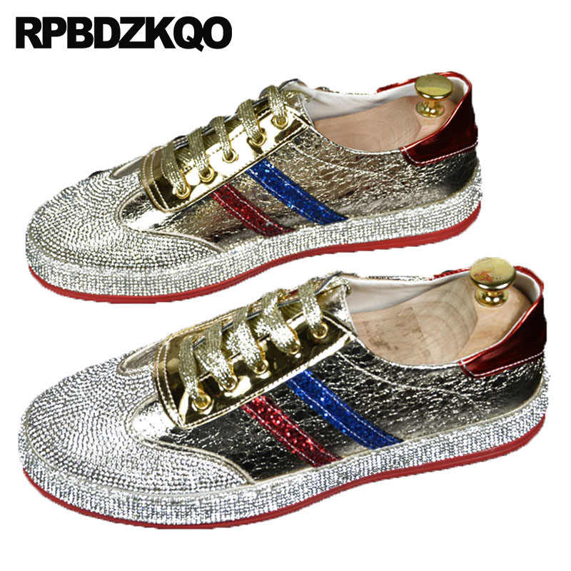 Brand Lace Up Skate Spring Men Stars Trainers Rhinestone Hip Hop Sneakers  Patent Leather Silver Italian cd4fce26437d