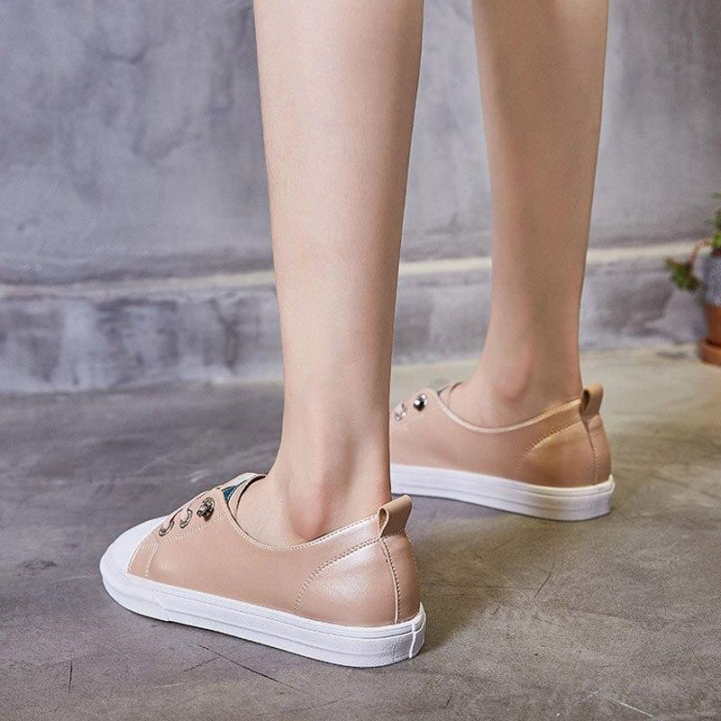Dame Mode Sneakers Appartements Marque 2018 Rose De Respirant Casual Jookrrix Up Cuir Chaussures Lace Chaussure Femmes En Femelle Véritable nPYIqg