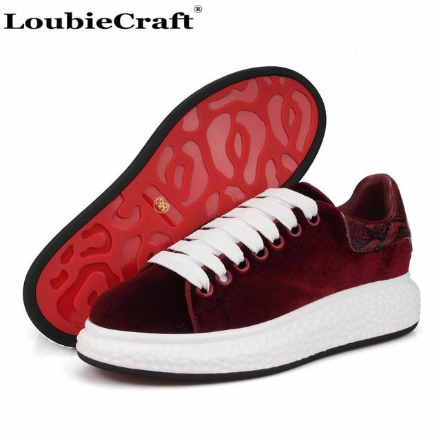 san francisco 328b2 88859 Loubie Craft Burgundy Velvet Men s Sneakers Platform Flats Casual Shoes  Genuine Leather Creepers Shoes Low top Trainers Shoes