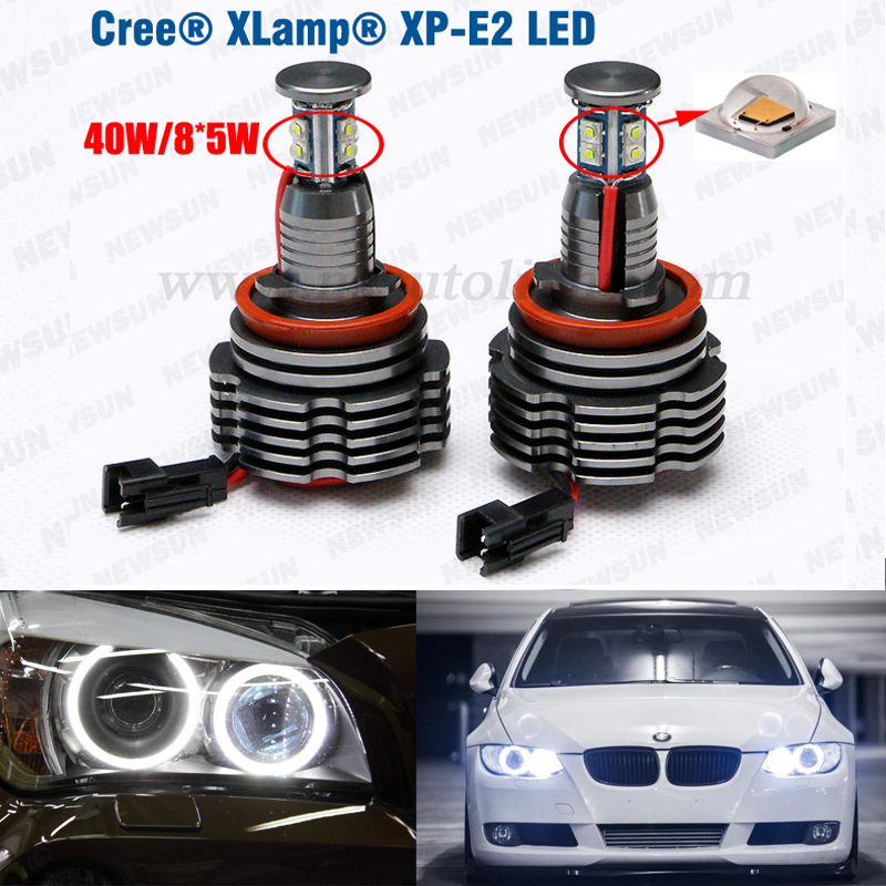 Wholesale 2*40w 80w Cree chip LED angel eyes for BMW E92 H8 fit for E60 E71 E82 E87 E89 E90 E92 E93 H8 led marker canbus