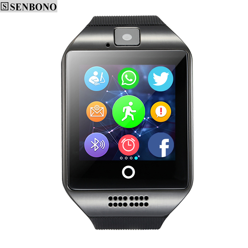 Free shipping SENBONO Q18  Passometer Smart watch  with Touch Screen camera TF card Bluetooth smartwatch for Android  IOS Phone
