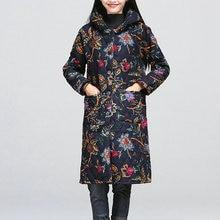 Национальный Дизайн-Мода Зима Осень Хлопка Ватник Женщины Тонкий Толстые Цветочные Печати Дамы Куртка Шинель
