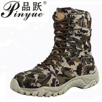 2018 Men Military Tactical Boots Winter Breathable Leather Camouflage Lace Up Boots High Combat Ankle Boots Men's Work shoes