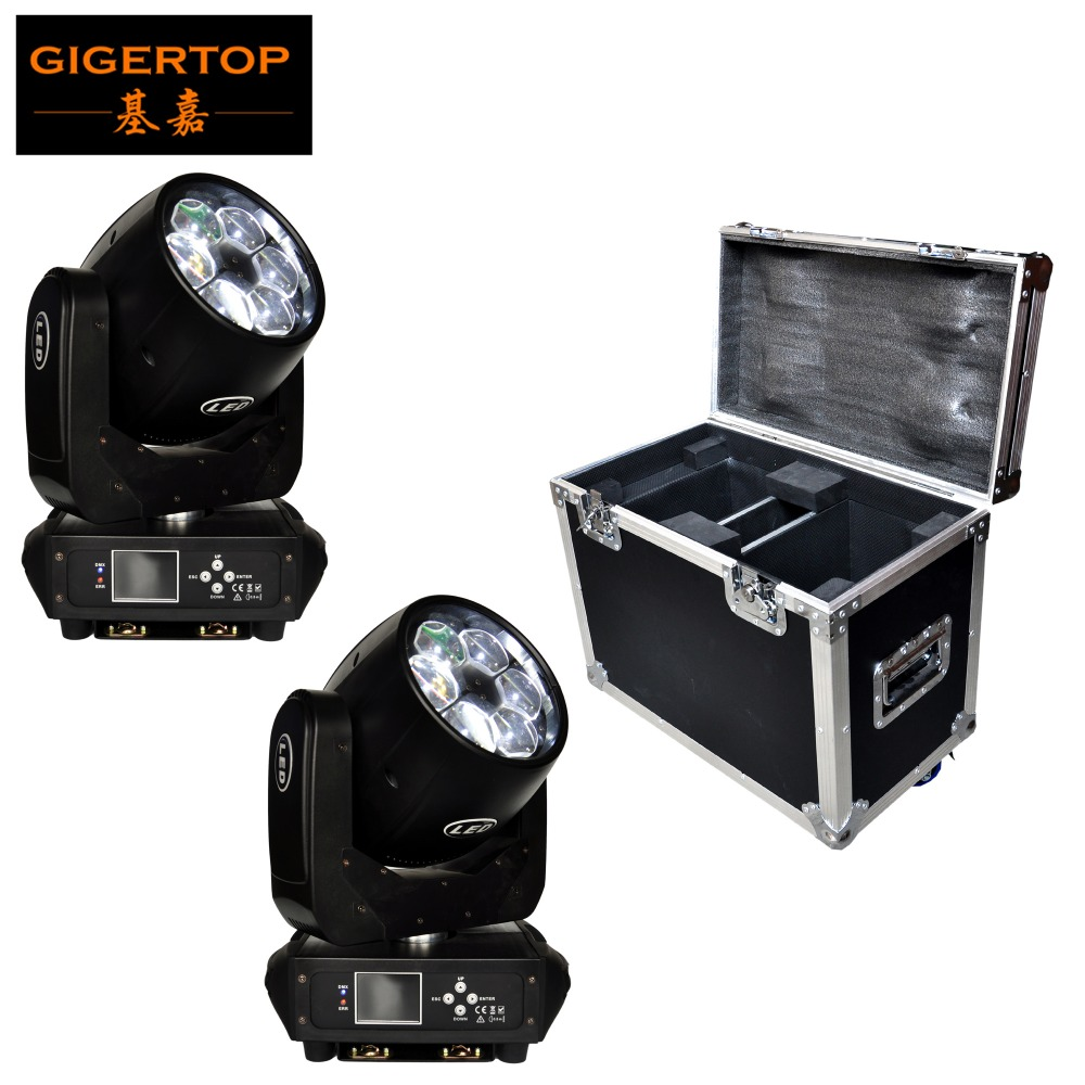 Freeshipping 2XLOT 280W Led Moving Head Beam Light 2in1 Flight Case Pack Mini Bee Eyes O-s-r-a-m High Brightness 6x40W RGBW Wash