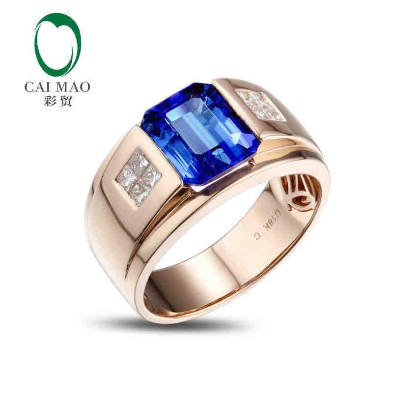 CaiMao 18KT/750 розовое золото 3,5 ct натуральный если Синий танзанит AAA 0,32 ct полный огранки обручение Драгоценное кольцо ювелирные изделия