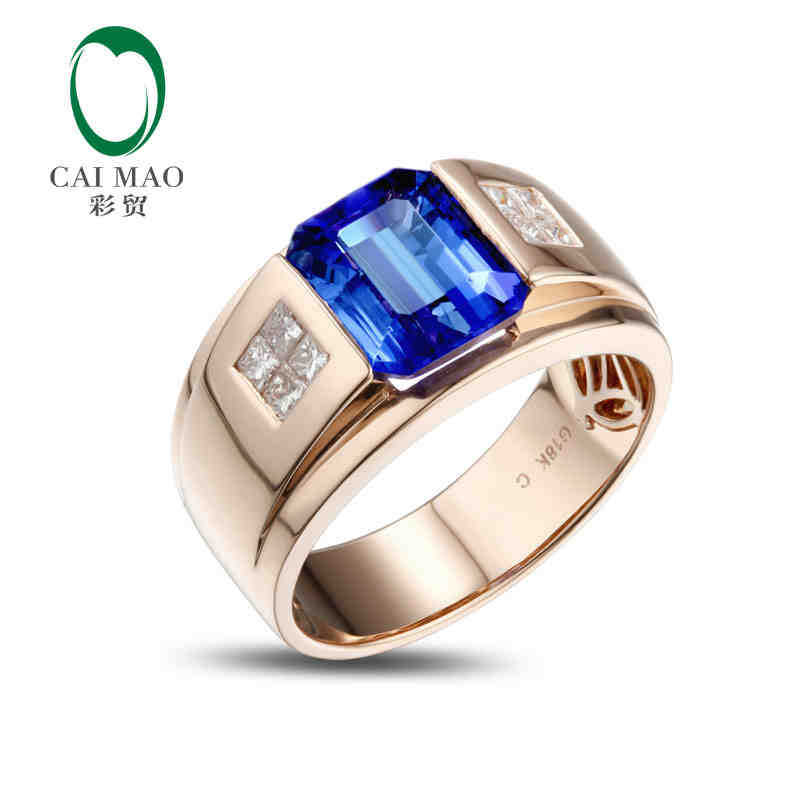 купить CaiMao 18KT/750 Rose Gold 3.5 ct Natural IF Blue Tanzanite AAA 0.32 ct Full Cut Diamond Engagement Gemstone Ring Jewelry по цене 138752.98 рублей