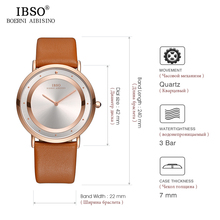 IBSO Brand 7 MM Ultra-thin Mens Watches 2019 Genuine Leather Strap Watch Men Fashion Simple Quartz Wristwatch Black Male Clock