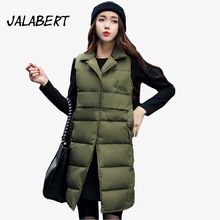 2017 New Autumn winter women long slim turn down collar vest female fashion lapel loose big pocket cotton parka coat