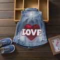 Fashion Star Hole Spring Baby Girl Denim Vest Cowboy Turn Collar Sleeveless Children Clothing Waistcoats For Girls