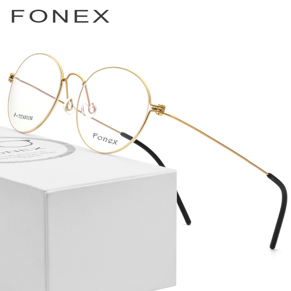 B Pure Titanium Glasses Frame Women Ultralight Prescription Eye Eyeglasses Men New Korean Myopia Optical Frame Screwless Eyewear