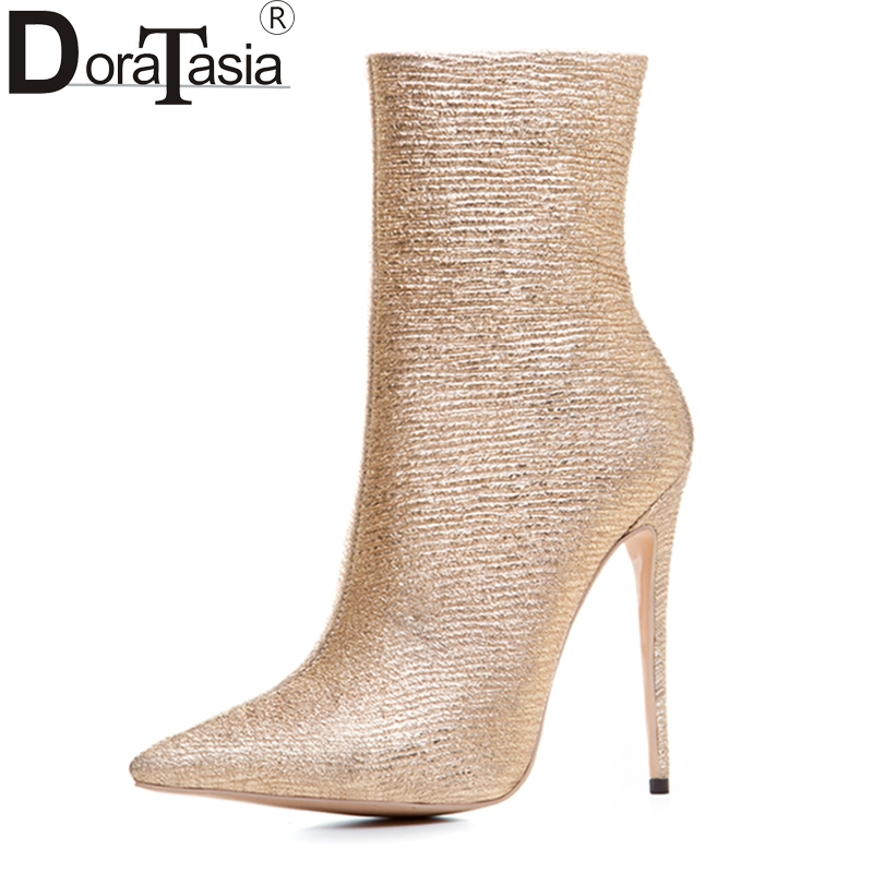 DoraTasia 2017 new fashion large size 33-43 super thin high heels woman mid calf women boots office lady elegant leisure shoes doratasia brand new large size 33 43 fashion pointed toe thin high heels women party sexy pumps woman ceremony office lady