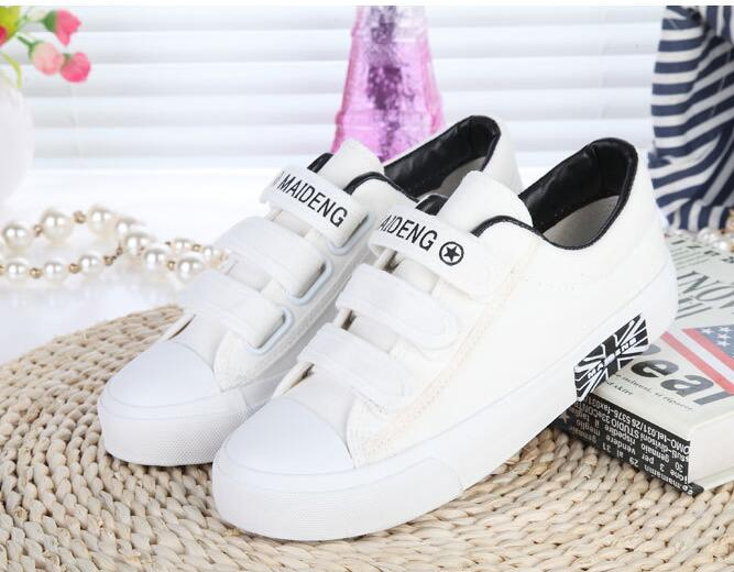 Low to help Velcro breathable canvas shoes flat solid color casual shoes