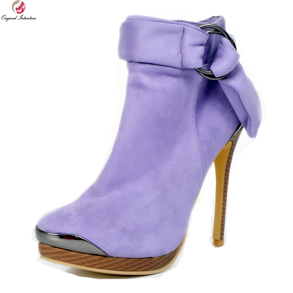 Original Intention Elegant Women Ankle Boots Nice Round Toe Thin High Heels Boots Gorgeous Purple Shoes Woman Plus US Size 4-15