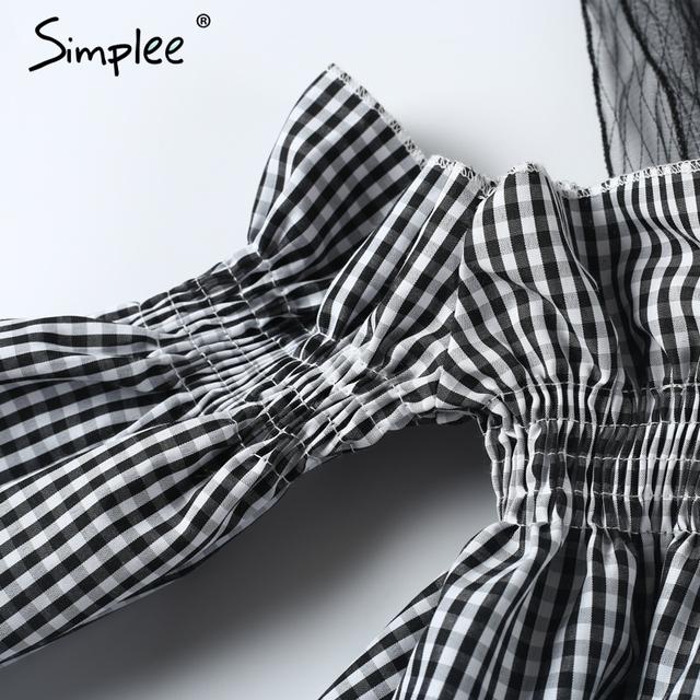 Simplee Off shoulder joint transparent mesh ruffle blouse shirt Casual stripe black blouse Women summer chemise femme blusas