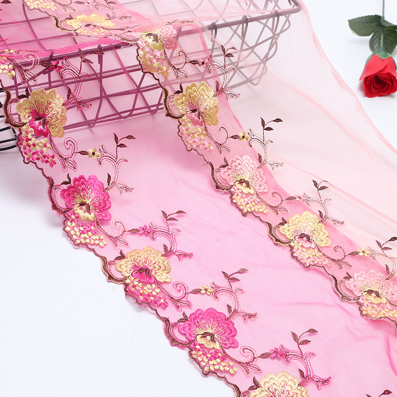 1Meter Embroidery Peacock/flower Pattern Lace Design Mesh Fabric Line Sewing DIY Doll Cloth Tulle