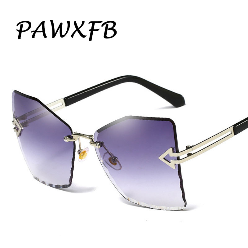 PAWXFB 2019 New Oversized Sunglasses For Women Rimless Sunglasses Female Fashion Ocean Lens Classic Oculos de sol in Women 39 s Sunglasses from Apparel Accessories