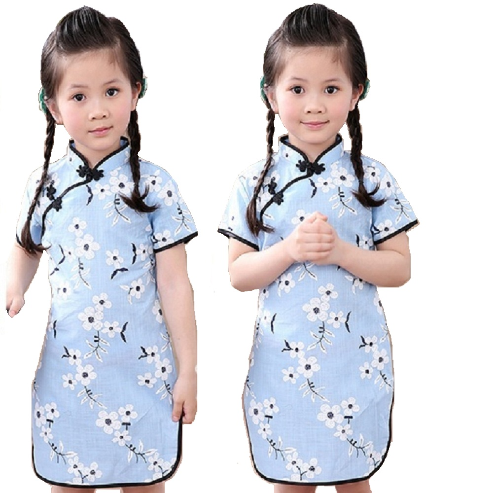 Rose Floral Baby Girls Qipao Dress Chinese Traditional Chi-pao Fashion New Year Children Dresses Kids Cheongsam Linen Clothes 6