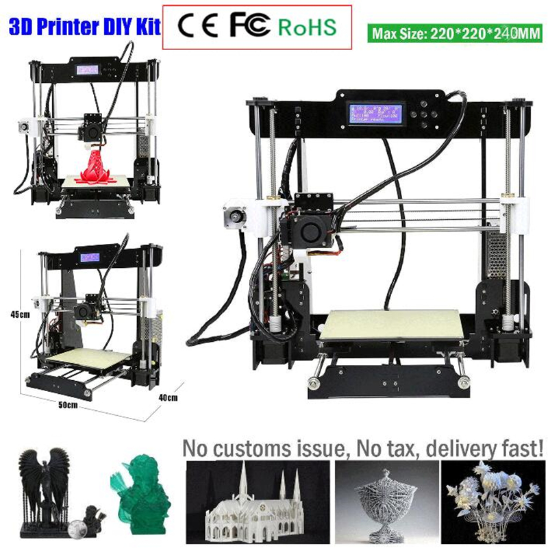 zrprinting Newest Upgrade w5 3D Printer High Accuracy Desktop Prusa i3 DIY Kit LCD  Resume Power Failure Printing